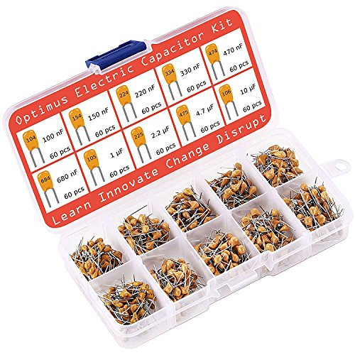 Ceramic Capacitor Assortment Kit - Set of 600 Small Assorted Capacitors from 100 nF to 10 uF in a Box - Non-Polarized Disc Capacitor Component Set from Optimus Electric