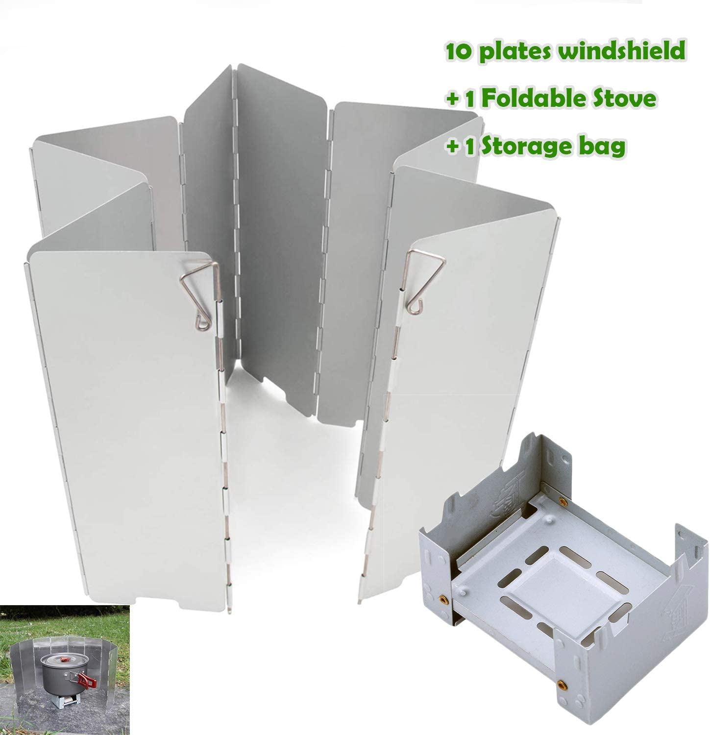 Rowland Harbor Camp Stove Windshield, Foldable Pocket Size 10 Plates Picnic Cooker Stove Windscreen with Ultralight Folding Pocket Stove