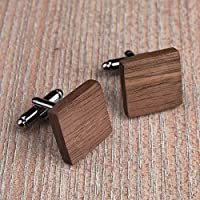 Free shipping: American Walnut Wood cufflinks. Square cufflinks. Custom personalized initial monogram cufflinks. Natural wood engraved jewelry for men. Boss present. Wedding groomsmen groom gifts