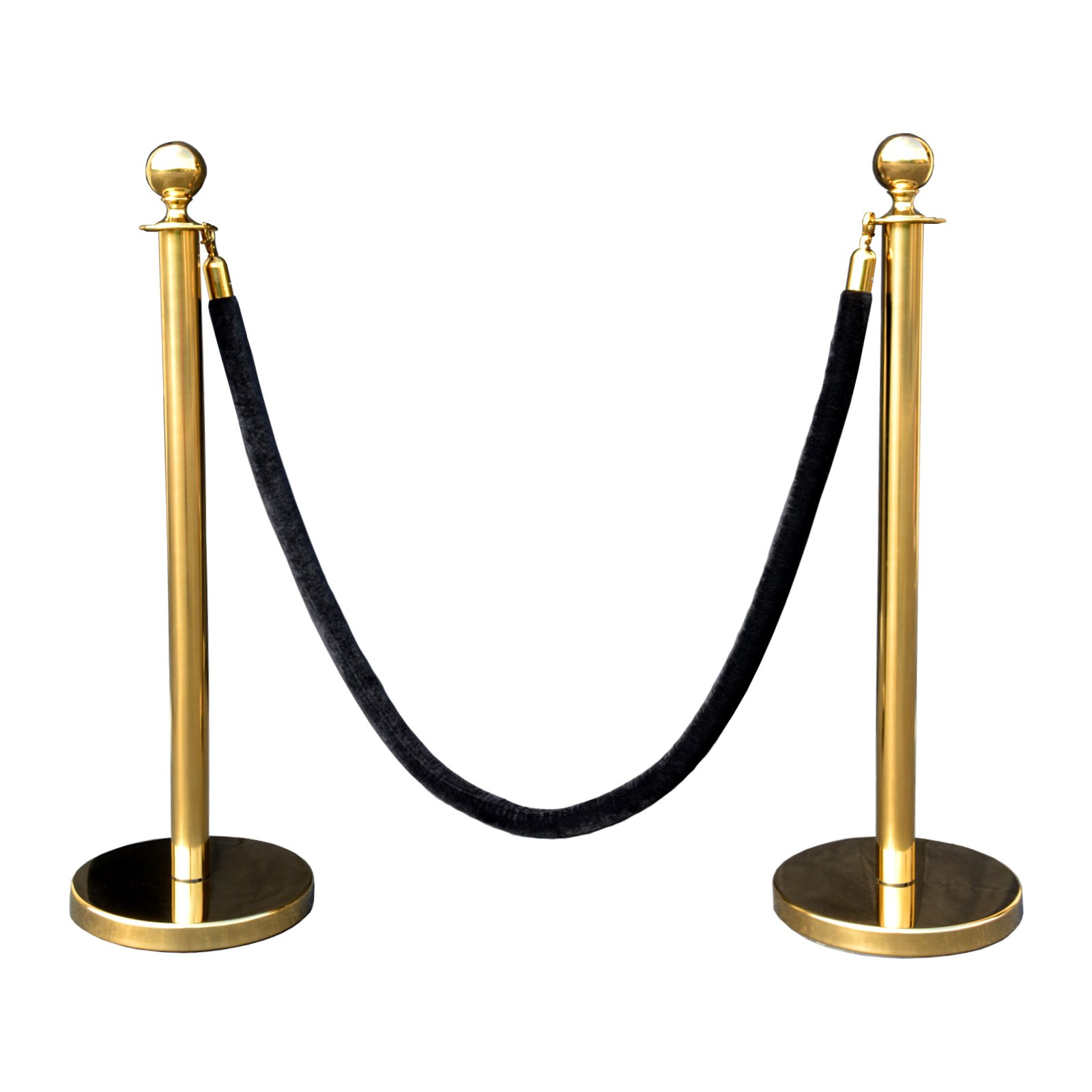 Rope Stanchion Set in 3 PCS, 72'' Black Velour Rope & Crown Top, Gold Finished