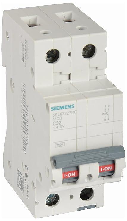 7a2f1ccc4cb3 Siemens 32A 2 Pole Miniature Plastic Circuit Breaker (White and Grey)   Amazon.in  Home Improvement