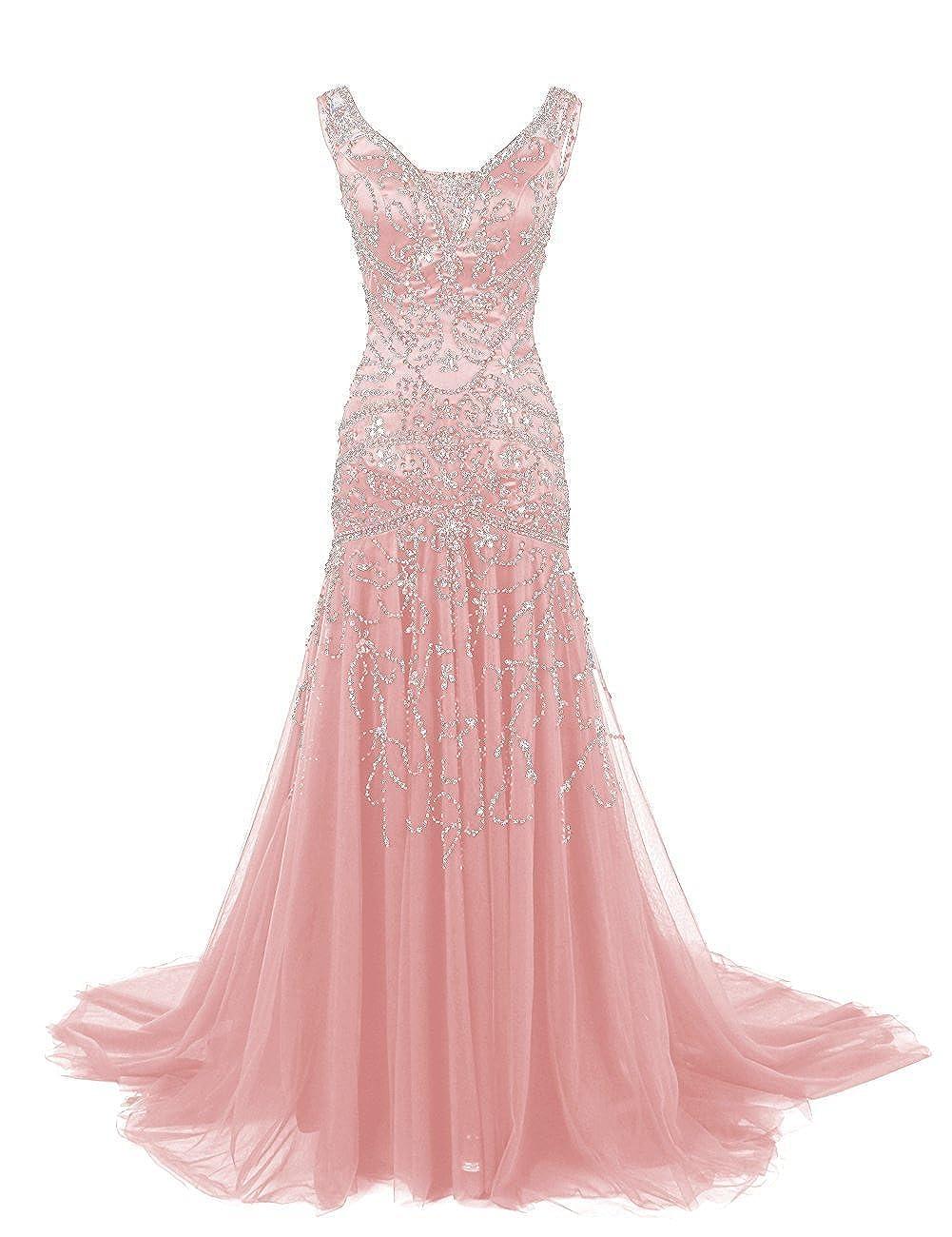 bluesh Ellenhouse Women's Long Mermaid Mother of Bride Dress Beaded Prom Ball Gowns