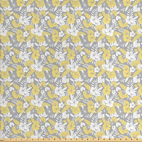Ambesonne Luau Fabric by The Yard Hawaiian Vegetation Flowers Abstract Summertime Botanical Composition Decorative Fabric for Upholstery and Home Accents 1 Yard Yellow Grey