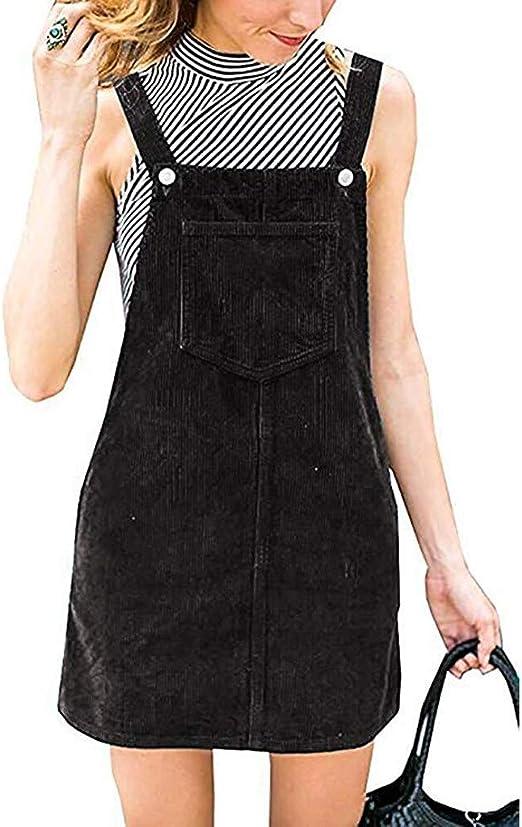 QinMM Petos de Falda Mini Vestido de Pana de Mujer: Amazon.es ...
