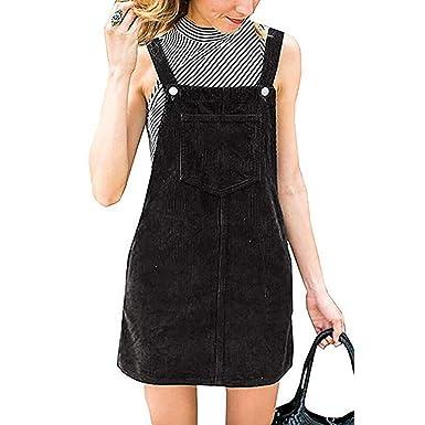 854b715a1f5 LEERYAAY Women Straight Corduroy Ladies Slip Skirt Suspender Mini Bib  Overall Casual Pocket Dress Black