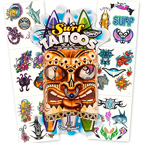 [Surf Tiki Temporary Tattoos Party Favors and Costume Set (35 Tiki and Surfer Temporary Tattoos)] (Tiki Costumes)