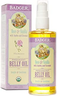 product image for Badger - Pregnant Belly Oil, Rose & Vanilla, Certified Organic, Gentle & Soothing, Jojoba & Coconut Oil, Belly Oil for Stretched Skin During & After Pregnancy, 4 fl oz
