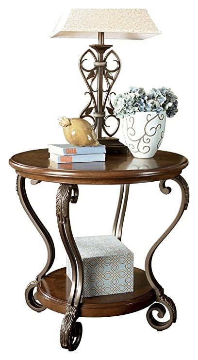img buy Ashley Furniture Signature Design - Nestor End Table - Traditional Vintage Style - Round - Medium Brown