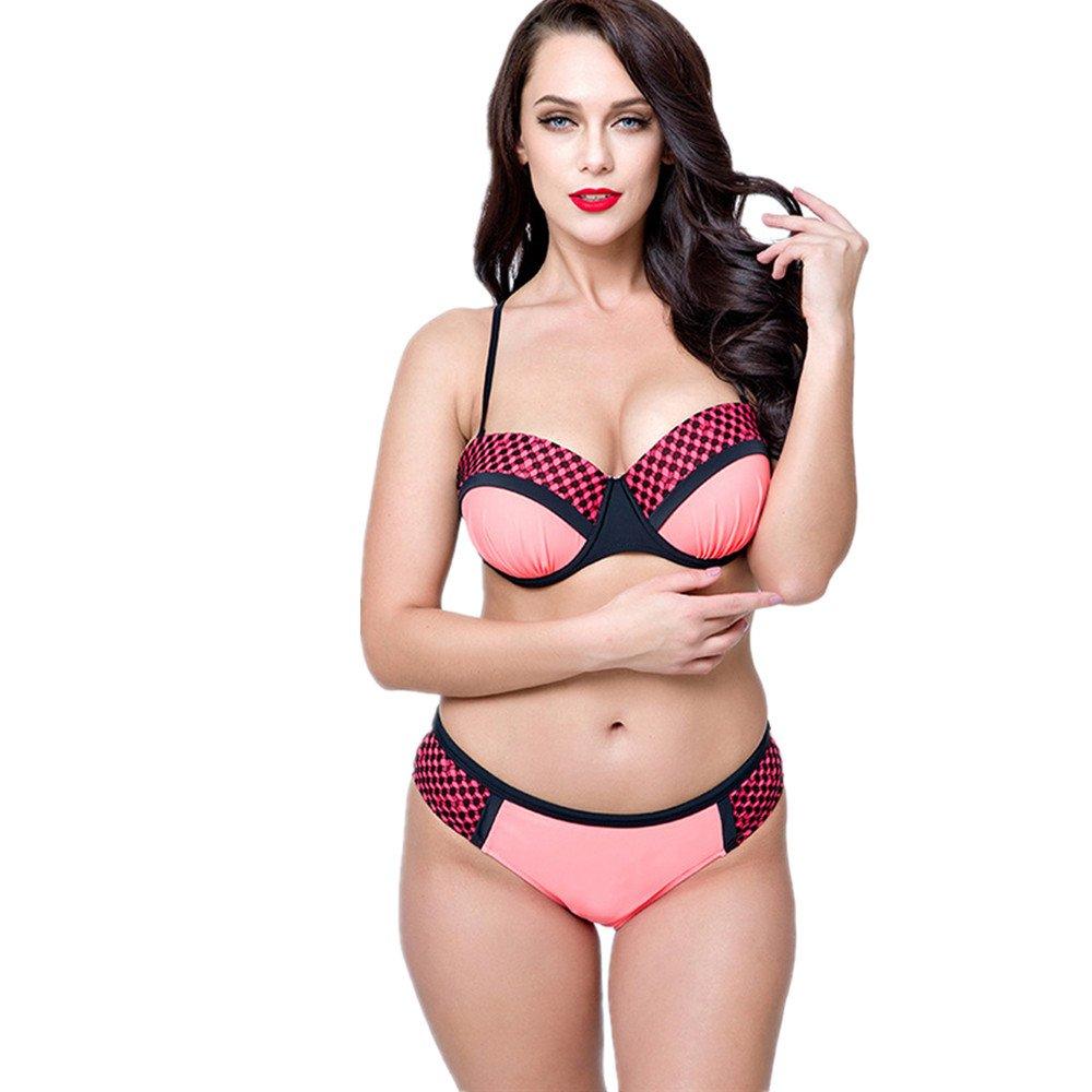 女性の 水着 ビキニ 純粋な色 ビーチ スパ 速乾性 高い弾力性 水着 に適して 水泳 ウェディング エクササイズ スパ (Color : Pink, Size : 44) B07DZQ38R7 44|Pink
