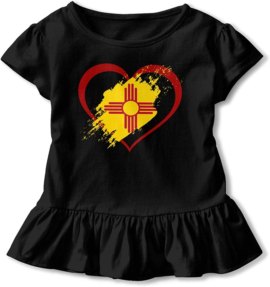Kcloer24 Unisex Toddler New Mexico Flag Heart Shape Personality Short Sleeve Ruffles T-Shirt Summer Clothes for 2-6 Years Old