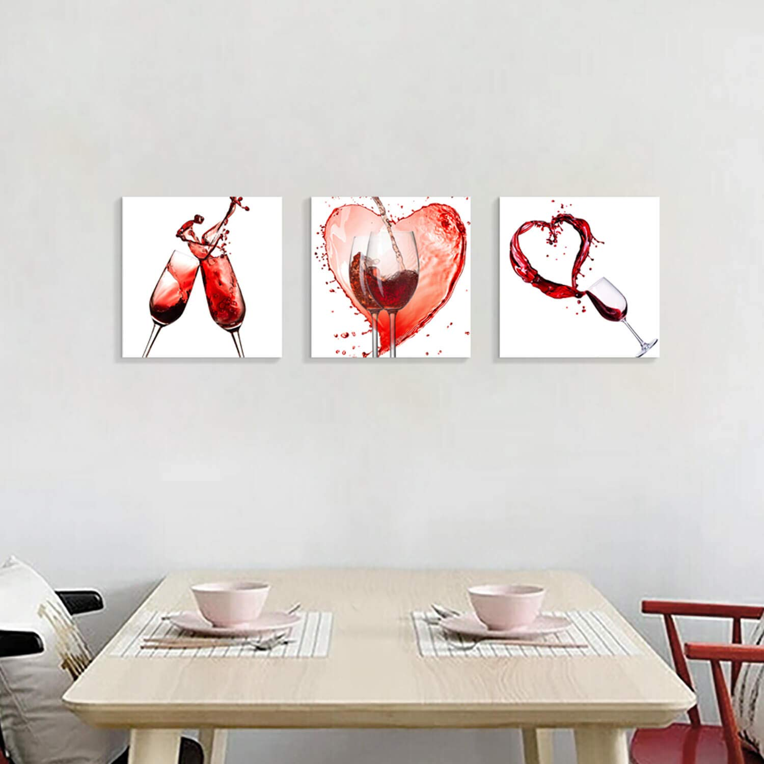 Wine Pictures Canvas Wall Art Vino Rouge Pouring and Goblets Graphic Artwork Pictures for Kitchen  Dining Room 16 x 16 x 3 Panels