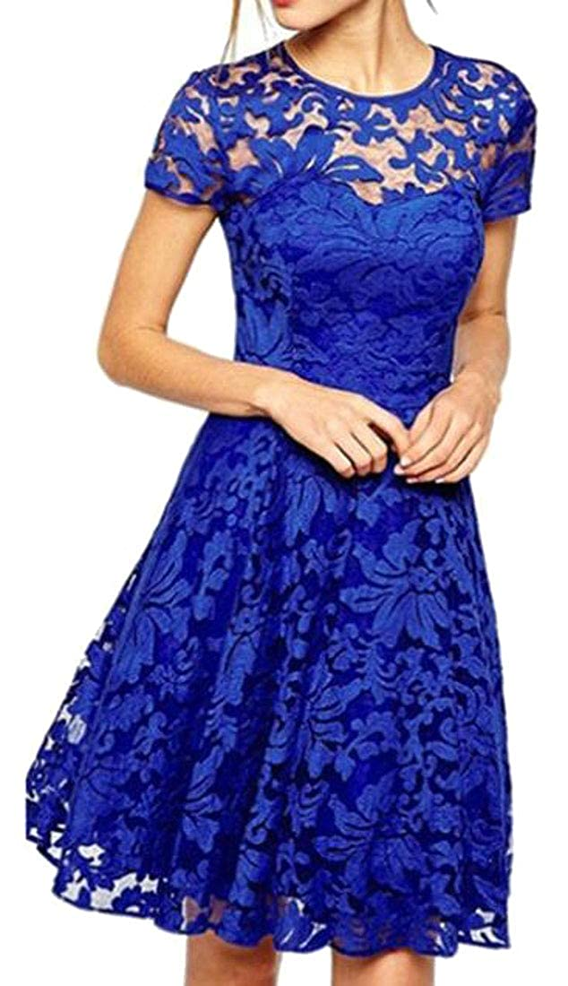 Suncolor8 Women Short Sleeve Summer Lace Casual Swing Cocktail Party Midi Dress