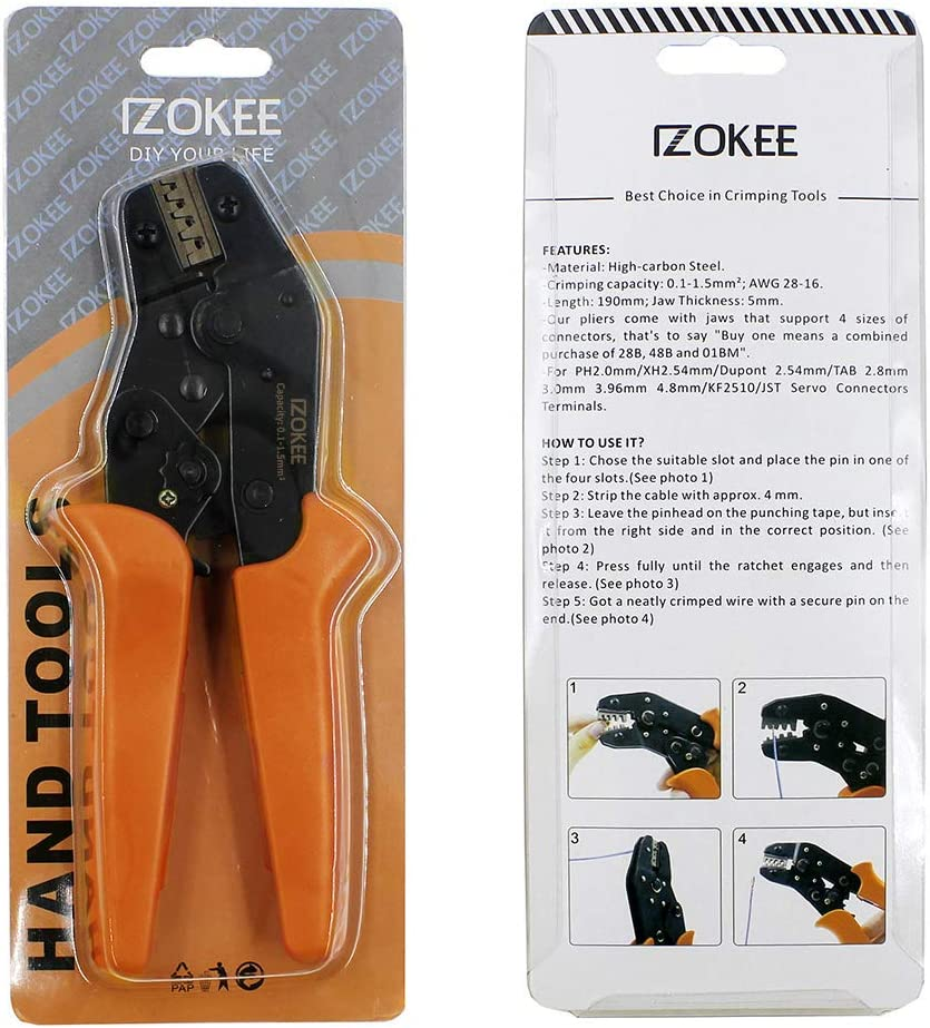 XH 2,54 mm conectores de alambre de 0,1 a 1,5 mm TAB 3,96 mm 2 PH 2,0 mm KF2510 // JST Herramientas de engaste de trinquete para pines de terminales AWG28-16 Dupont 2,54 mm