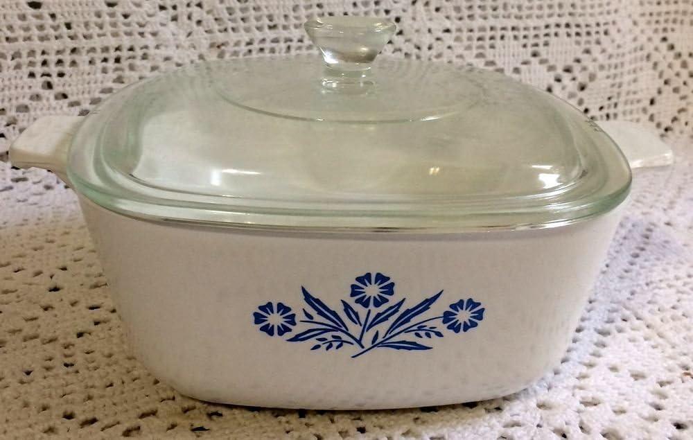 Vintage CORNINGWARE Blue Cornflower~THREE Casserole Dishes~w Glass Lids~Handle~TrivetCradle~Fireking Small Bowl Floral Pan Winter Wedding