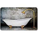 Memory Foam Bath Mat,Retro,Vintage Bathtub in Room With Grunge Wall Lifestyle Resting Spa Theme Art PrintPlush Wanderlust Bathroom Decor Mat Rug Carpet with Anti-Slip Backing,Grey White Gold