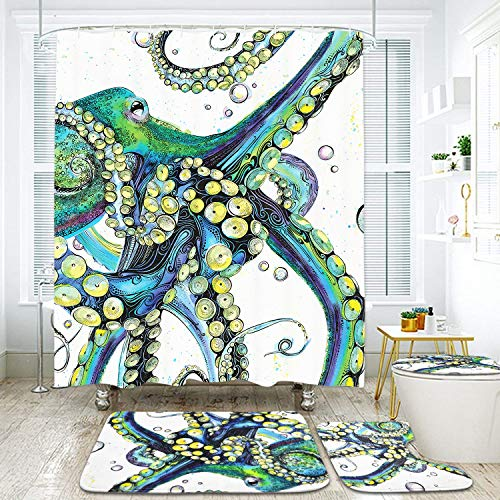 Octopus Shower Curtain Sets with Non-Slip Rugs, Toilet Lid Cover and Bath Mat, Colorful Fashion Octopus Blossom Shower Curtains with 12 Hooks, Durable Waterproof Bath Curtain (Shower Curtains And Bath Sets)