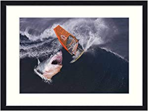 OiArt Wall Art Canvas Prints Wood Framed Paintings Artworks Pictures(20x14 inch) - Shark Surfer Wave Fantasy Surfing Surf Board Sea