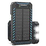 X-DRAGON Solar Charger, 15000mAh Power Bank Portable Dustproof Shockproof Dual USB Solar Panel Battery Charger with Dual Super Bright LED Light for iPhone, Samsung Galaxy and More -Blue