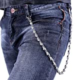 U7 Men Cool Gothic Skull Punk Jean Chain Trouser Long Wallet Purse Key Chain - Platinum Plated