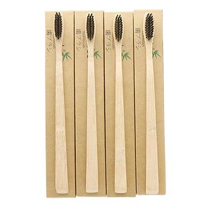 4 piezas n-amboo medio ambiente Biodegradable cepillo de dientes de bambú | eco-