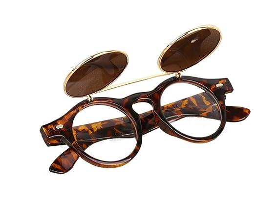Bluestercool Lunettes de soleil Steampunk Goth Goggles Retro Flip Up Lunettes de soleil rondes Vintage (B) RtTkcf6n