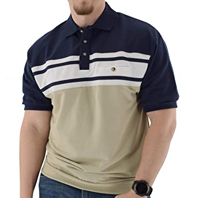 085c12086 Classics by Palmland Horizontal French Terry Short Sleeve Banded Bottom  Shirt Navy (M