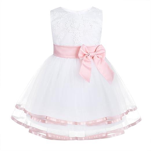 Amazoncom Iiniim Infant Baby Flower Girl Dress Embroidered Baptism