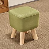 GAOYANG Small Stool, Small Stool, Household Fabric Sofa Stool Bench, Heightening Changing The Shoe Bench in The Living Room, Thickened Small Square Stool, Soft Footstool Waist Stool (Color : Green)