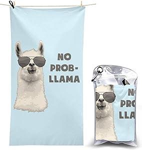 Myleiture Microfiber Beach Towel, No Prob Llama Quick Fast Dry Towel Blanket Sand Free Soft Absorbent Lightweight Bath Towels for Beach, Bath, Swim, Travel