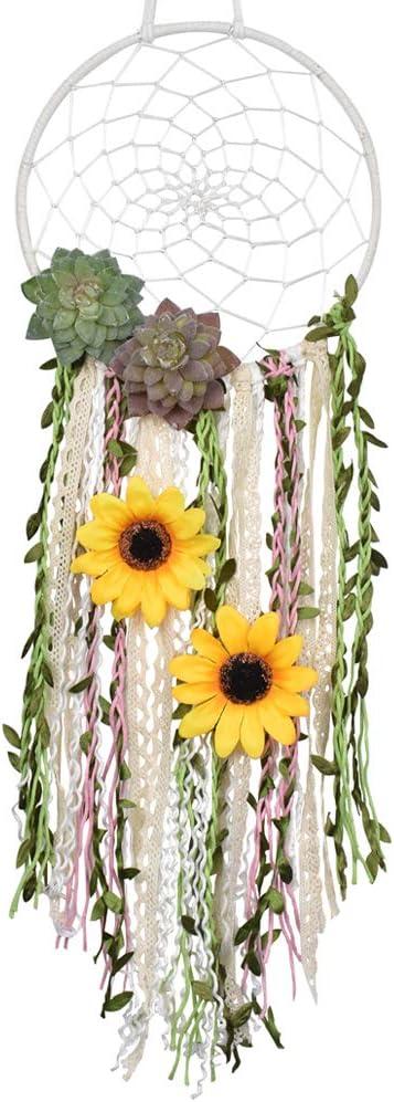 DrCor Sunflower Dream Catcher for Teens Girls Bedroom Nursery Boho Floral Handmade Dreamcatcher Greenery Wall Hanging Decor for Kids Room (Green)