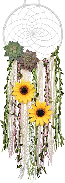 DrCor Sunflower Dream Catcher for Teens Girls Bedroom Nursery Boho Floral Handmade Dreamcatcher Greenery Wall Hanging Decor for Kids Room (Green)