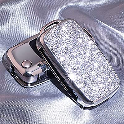 Royalfox(TM) 2/3 Buttons 3D Bling flip Folding Remote Key Fob case Cover for VW Volkswagen Mk6 Bora Jetta GTI Passat Golf Tiguan Touareg Beetle (Silver)