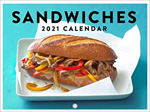 Sandwiches Food Kitchen Funny 2021 Wall Calendar 12 Month Monthly Full Color Thick Paper Pages Folded Ready to Hang 18x12 inch