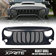 Xprite Front Matte Black Beast Grille Grid Grill with Built-In Mesh for a Jeep Wrangler Rubicon Sahara Sport JK 2007-2017