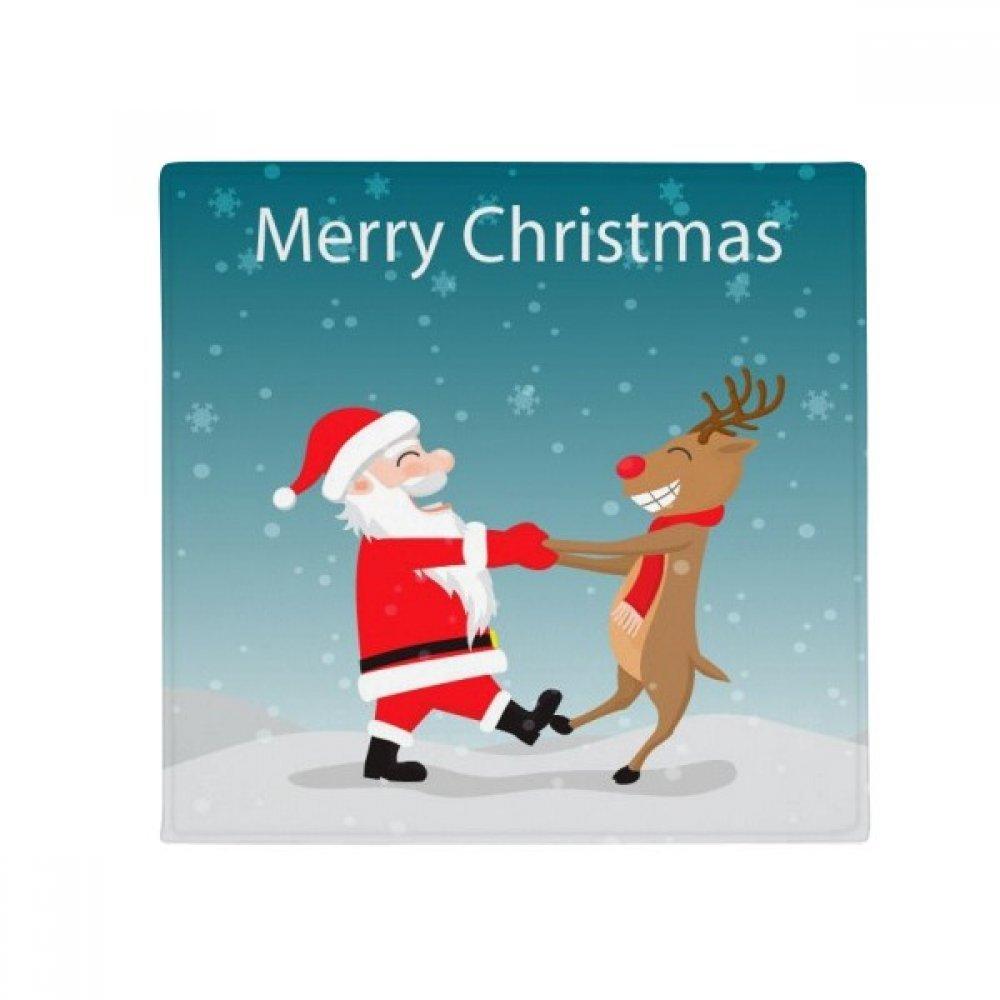 DIYthinker Christmas Santa Claus Elk Festival Anti-Slip Floor Pet Mat Square Home Kitchen Door 80Cm Gift