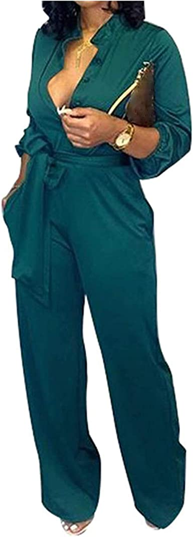 Women Solid V Neck Long Sleeve Wide Legs Belted Casual Club Cocktail Jumpsuit
