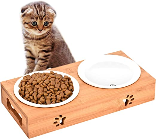 Queta - Juego de comedero antideslizante para gatos, de cerámica, juego con soporte de bambú, para gatos y perros: Amazon.es: Productos para mascotas