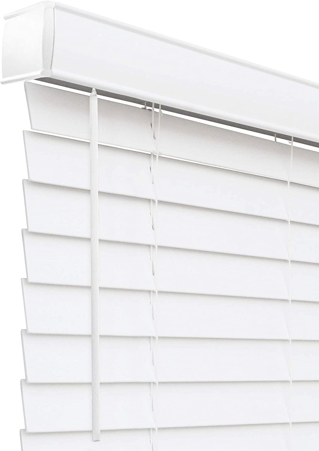 """CHICOLOGY Cordless 2-in Faux Wood Blinds, Horizontal Venetian Window Treatment Best for Kids, Inside Mount, 27"""" W X 60"""" H, Basic White"""