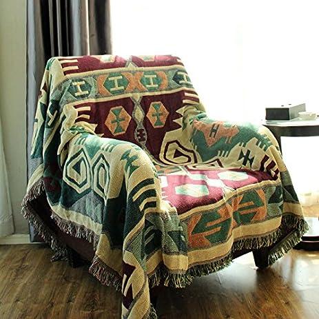 LELVA Boho Bedspread Bohemian Tapestry Woven Throw Blanket Sofa Cover  Mandala Tapestry Green (90 X