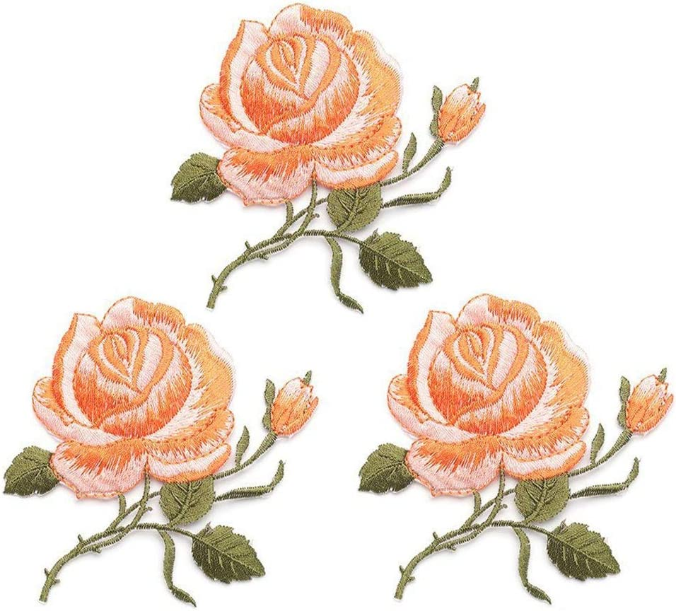 Girls Custom Backpack Patches for Women 3 Pack Delicate Embroidered Patches Colorful Rose Embroidery Patches Kids Purple Flower Patches,Sew On Applique Patch Iron On Patches