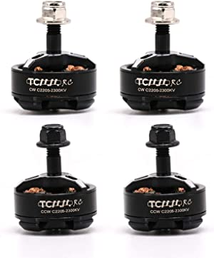 TCMM RC 4pcs 2205 2300KV Brushless Motor 5 Inch 3-4s for QAV FPV Racing Drone Quadcopter with NSK High Speed Bearings, 52H Ultra-High Magnetic Steel, Super Heat Dissipation Support 4S
