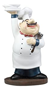 """Ebros Be Our Guest French Bistro Chef Holding Plates and Utensils Statue Kitchen Counter-top Decor Figurine 10.5"""" H"""