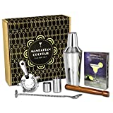 Manhattan Cocktail Set   Cocktail Shaker Set and Home Cocktail Making Kit with Recipe Book, 750ml Shaker, Strainer, Muddler, Twisted Mixing Spoon, 25ml & 50ml Thimble Bar Measures