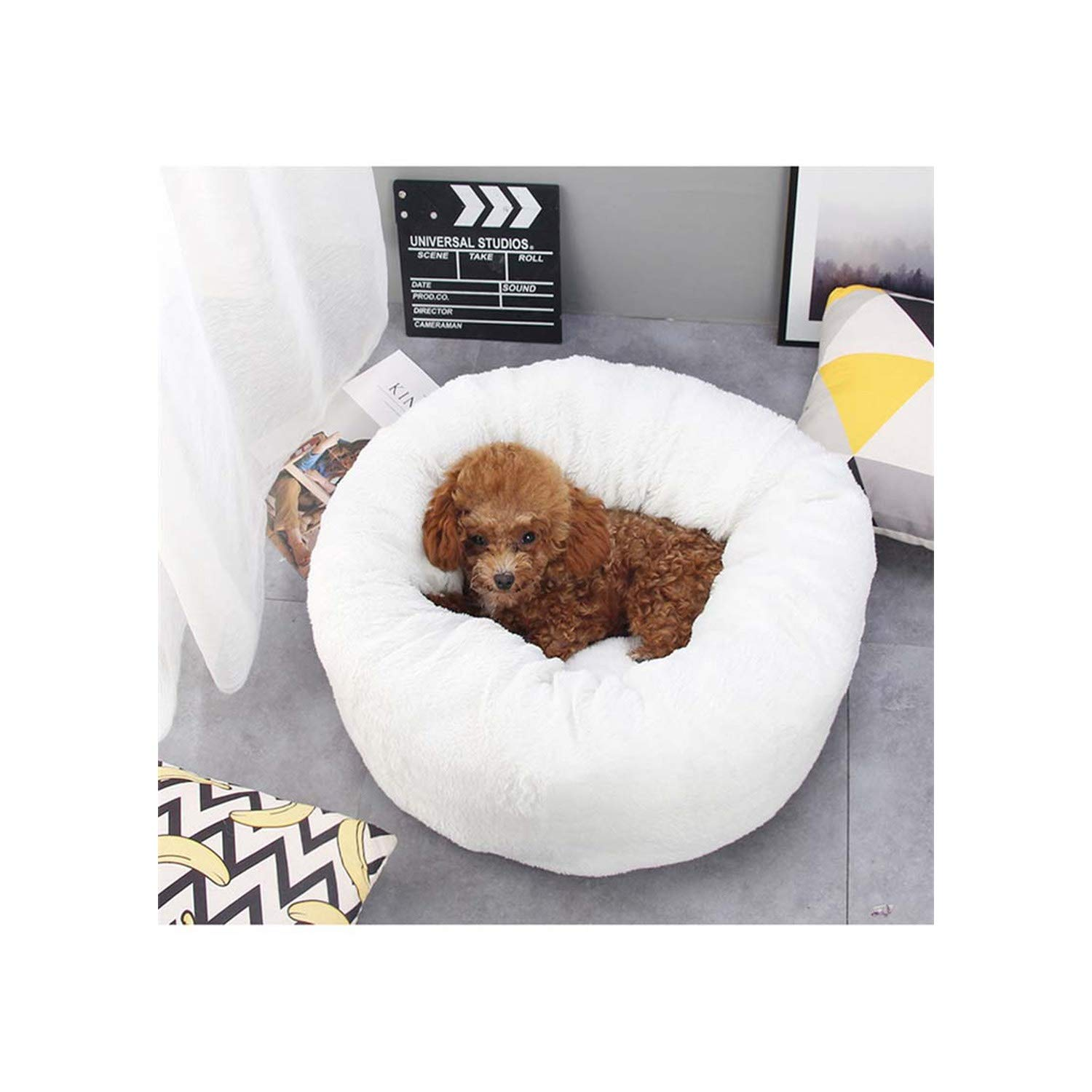 Dog Mat Doghouse Puppy Bed Basket Prush Soft Sleeping Cushion Breathable Cats Mats Deep Pet Cat House,White,50X23Cm(Dxh)
