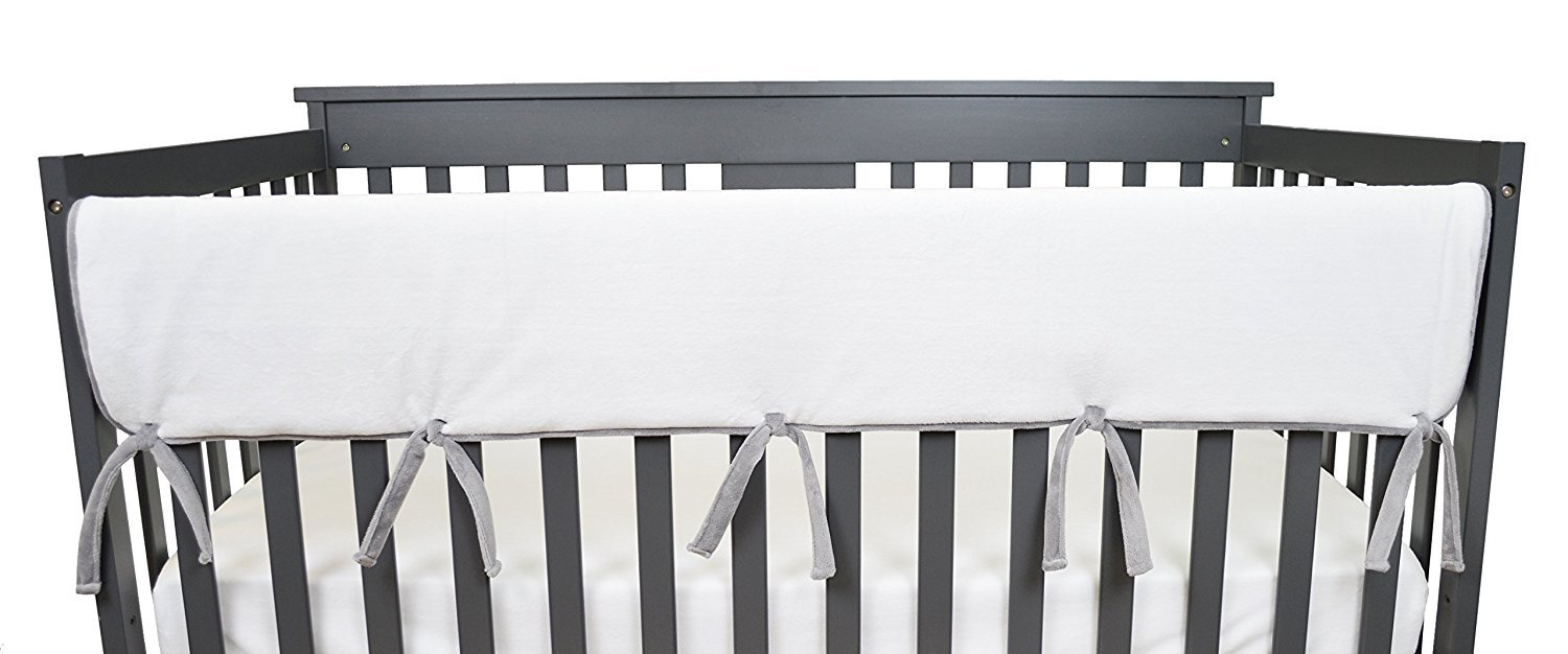 American Baby Company 1 Pack Heavenly Soft Chenille Reversible Crib Rail Cover for Long Rail, Gray/White, Wide for Rails Measuring up to 18'' Around