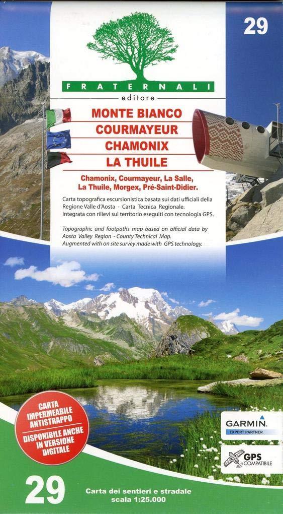 Chamonix Cartina Geografica.Amazon It Carta N 29 Monte Bianco Courmayeur La Thuile