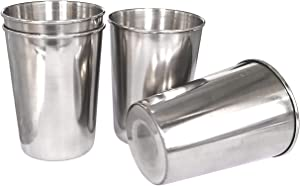 4Pack 6oz Stainless Steel Cups,BPA Free Healthy Pint Drinking Cups Metal Drinking Glasses For Kids And Adults (Silver, 170ml/6oz)
