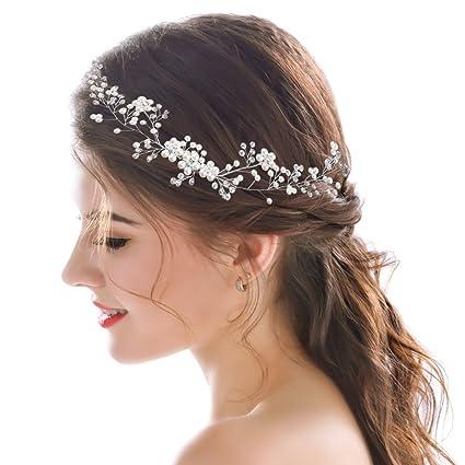 Handcess matrimonio per capelli vite argento fiore di cristallo da sposa  accessori per capelli - 40 cm  Amazon.it  Bellezza 705689ddbe0d