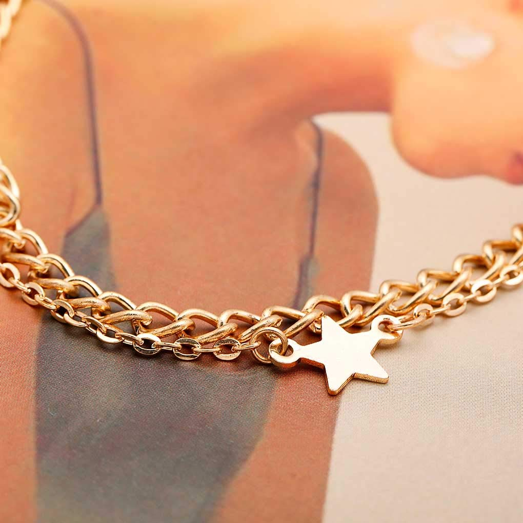 Tgirls Layered Star Anklet Chain Minimalist Foot Chain Bracelet Beach Jewelry for Women and Girls