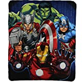 Kids Movie Characters Lightweight Fleece Blankets (Avengers Band of Heroes)